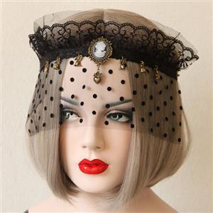Halloween Masks, Costume Ball Masks, Black Lace Mask, Masquerade Party Mask, Punk Black Mask, Cosplay Face Veil, #MS13030