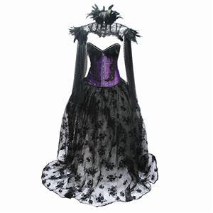 Retro Overbust Corset Skirt Set, Sexy Gothic Black Burlesque Halloween Vampire Corset Skirt Set, Gothic Choker Corset Costume, Gothic Halloween Costume, Steampunk Corset for Women, Steel Boned BodyShaper Corset, Sexy Overbust Corset, #N19603