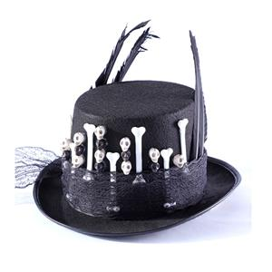 Fancy Vampire Masquerade Party Costume Hat, Steampunk Halloween Cosplay Costume Hat, Retro Fascinator Fancy Ball Top Hat, Vintage Industrial Style Vampire Costume Hat, Fashion Party Costume Hat Accessory, Fancy Victorian Gothic Fascinator, Gothic Style Costume Hat, #J21211