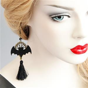 Retro Black and Tassel Earrings, Gothic Style Earrings, Fashion Black Bat Earrings for Women, Vintage Tassel Earrings, Casual Tassel  Earrings, Victorian Gothic Black Bat and Tassel Earrings, Fashion Earrings, #J18439