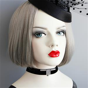 Vintage Style Necklace, New Gothic Necklace, Gem Necklace, Lace Necklace, Cheap Punk Chocker, Victorian Necklace for Women, #J18802