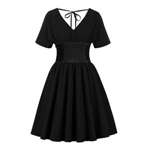 Gothic Style Pure Black Deep V Neck and V Back Short Sleeves Wide Elastic Band High Waist Midi Dress N18343