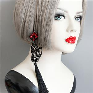 Retro Alloy Earrings, Gothic Style Earrings, Fashion Ruby and Butterfly Floral Lace Earrings for Women, Vintage Ruby and Tassel Earrings, Casual Tassel Earrings, Victorian Gothic Ruby Earrings, Fashion Butterfly and Tassel Earrings, #J18421