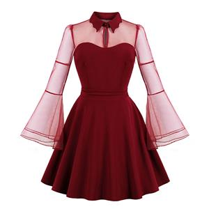 Plus Size Gothic Wine-red See-through Flare Sleeve Halloween Vampire Dress N19421
