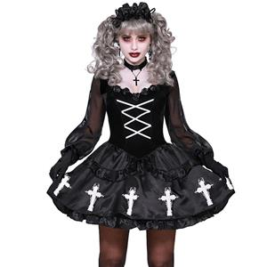 Gothic Black Vampire Cross Off-shoulder Sheer Mesh Mini Dress Halloween Ghost Bride Costume N19927