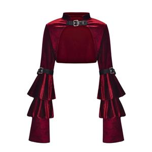Medieval Victorian Gothic Wine-red Velvet Stand Collar Long Layered Sleeve Shrug Bolero N20159