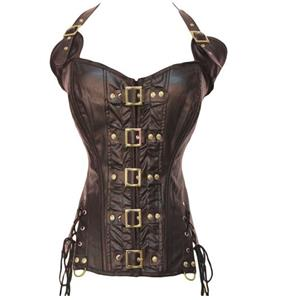 Vested Brocade Gothic Overbust Corset, Plastic Boned Corset, Steampunk Corset Vest for Women, Gothic Brown Strap Overbust Corset, #N14171