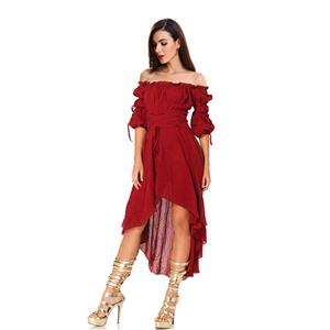 Vampire Wine Red Dress, Gothic Dresses for Women, Cocktail Party Dress, Halloween Party Dress, Vintage Half Sleeve Swing Dresses, Sexy Off-shoulder Dresses, Halloween Vampire Dress, Gothic High Low Dress, #N18687