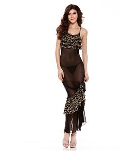Graceful Black and Yellow Ruffle Trim Long Lingerie Gown N11236