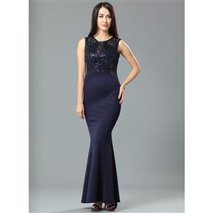 Cheap Clubwear Dress, Sexy Blue Gown, Hot Sale Sleeveless Dress, Evening Party Dress, Sexy Evening Long Gown For Women, Fishtail Gown, #N12664