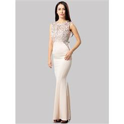 Graceful Champagne Sequined Evening Party Dress N12663