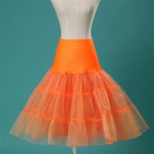 Sexy Orange Skirt Petticoat, Fashion Orange Skirt, Cheap Ladies Tulle Petticoat, Party Dress Petticoat, Plus Size Petticoat, #HG11254