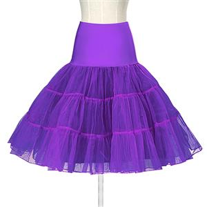 Sexy Purple Skirt Petticoat, Fashion Purple Skirt, Cheap Ladies Tulle Petticoat, Party Dress Petticoat, Plus Size Petticoat, #HG11265