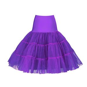 Sexy Purple Skirt Petticoat, Fashion Purple Skirt, Cheap Ladies Tulle Petticoat, Party Dress Petticoat, Plus Size Petticoat, #HG11265