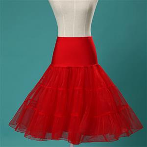 Sexy Red Skirt Petticoat, Fashion Red Skirt, Cheap Ladies Tulle Petticoat, Party Dress Petticoat, Plus Size Petticoat, #HG11262
