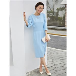 Evening Party Plain Dress, Cocktail Party Dress for Women, Casual Light Blue Midi Dress for Women, #N14294