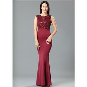 Cheap Clubwear Dress, Sexy Wine Red Gown, Hot Sale Sleeveless Dress, Evening Party Dress, Sexy Evening Long Gown For Women, Fishtail Gown, #N12665