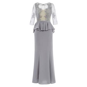 Half Sleeve Round Neck Dress, Gray Appliques Dress, Ruffles Maxi Dress, Gray Sheath Long Dress, Women