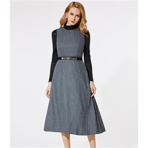 Round Neck Gray Midi Dress, Sexy Women