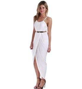 White Empire Straps Maxi Dress, Chic Slouch Front Split Dress, High Split Ruched Maxi Dress, #N9128