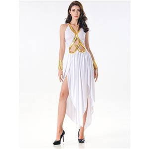 White Goddess Costume, Greek Goddess Halloween Costume, Grecian Goddess Adult Costume, Greek Goddess Cosplay Costume, Sanitess Adult Costume, #N17079