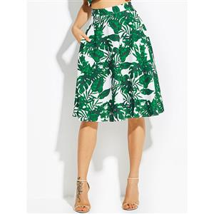 Sexy Skirt for Women, Sexy Green Skirt,  Knee-Length Skirt, Green Sexy Skirts, Floral Print White Skirt, Women Skirts White, High-Waist Skirts, #N15817