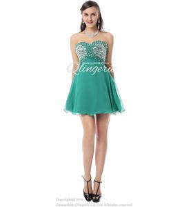 2015 Fashion Green Beading A-line Sweetheart Natural Waist Chiffon Short Homecoming Dresses Y30041