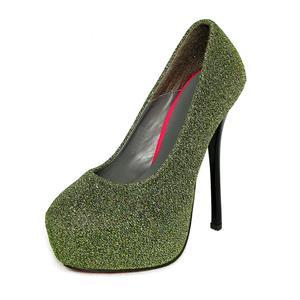 Kissable Platform Pump, Green Glitter Pumps, High Heel Pumps, #SWS12051
