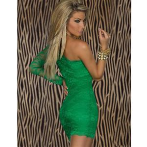 Lace One Arm Mini Dress, Green Lace Party Dress, Green one-shoulder lace dress, #N5740