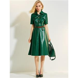 Fashion Green Lapel Short Sleeves Lace Up A-line Women