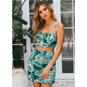 Sleeveless Top and Skirt Set, Crop Top Skirt Suit, 2 Piece Set Dress, Leaf Print Skirt Sets, Two-piece Set for Women, Tank Top and Skirt Outfit, #N17965