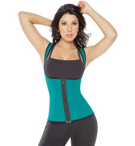 Triple-Sweat Thermal T-shirt, Green and Black Neoprene Sauna Tank Top Vest, Camiseta Ultra Sweat Dama, Green and Black Neoprene Vest with Zip Front, #N10645