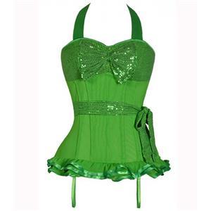 Sequin halter top corset, halter top corset, Green sequin corset, #N4869