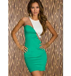 Sleeveless See-through Dress, Green Split Joint White Package Hip Dress, Sexy Clubwear Dress, #N9363