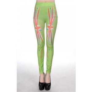 Union Jack Print Jeans, Womens Union Jack Leggings, Women Elastic Seamless Green Jeggings, #L6980