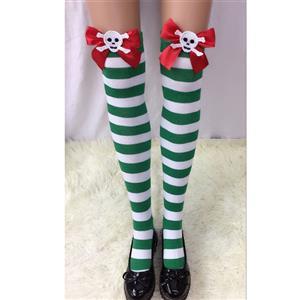 Halloween Stockings, Sexy Thigh Highs Stockings, Green-white Strips Cosplay Stockings, Red Bowknot with Skeleton Cosplay Thigh High Stockings, Stretchy Nightclub Knee Stockings, #HG18560