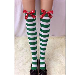 Christmas Stockings, Sexy Thigh Highs Stockings, Green-white Strips Cosplay Stockings, Red Snowflake Printed Bowknot Cosplay Thigh High Stockings, Stretchy Nightclub Knee Stockings, #HG18542