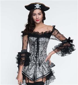 Sexy Grey Corset and Black Dress, Brocade Jacquard Corset & Black Lace Dress, Cheap Halloween Costume, Women