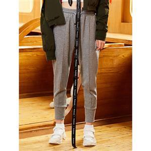 Elastic Waist Pants, Womens Grey Pants, Grey Casual Pants for Women, Full Length Pants, Pocket Pants for Women, Plain Sport Pants for Women, #N15679
