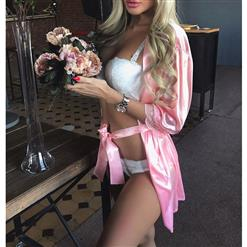Pink Lace Trim Robe, Satin Lightweight Sleepwear Robe, Sexy Sleepwear Robe White, Satin Robe Nightgown, Half Sleeve Nightgown for Women, #N17453