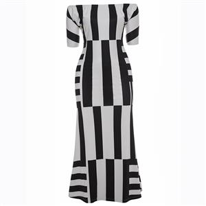 Half Sleeve Dresses for Women, Off Shoulder Dress, Plus Size Dress, Irregular Stripe Dress, Maxi Dress, Bodycon Dress, Slash Neck Dress, Slim Fit Dress, #N15617