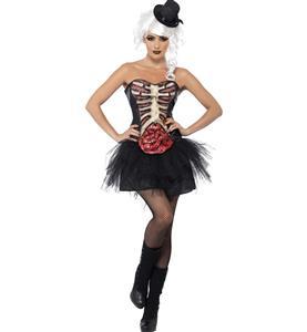Black Sexy Grotesque Burlesque Corset, Grotesque Burlesque Corset Halloween Ladies Fancy Costume, Burlesque  Zombie  Costume,  #N9386