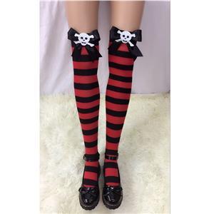 Halloween Stockings, Sexy Thigh Highs Stockings, Red-black Strips Cosplay Stockings, Black  Bowknot with Skeleton Cosplay Thigh High Stockings, Stretchy Nightclub Knee Stockings, #HG18540