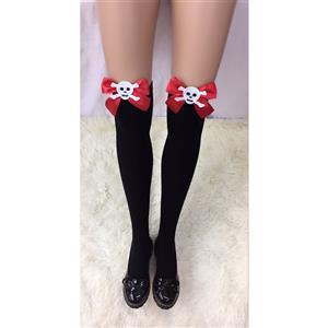 Halloween Black Stockings, Sexy Thigh Highs Stockings, Pure Black Cosplay Stockings, Anime Thigh High Stockings, Red Bowknot Stocking, Stretchy Nightclub Knee Stockings, #HG18459