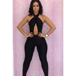 Halter Neck Backless Catsuit, Cross Backless Bodycon Jumpsuit, Hollow Out Bodycon Jumpsuit, #N6619