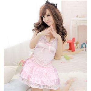 Sheer Satin Babydoll, Pink Lace Splicing Mesh Babydoll, Satin Sleepwear Dress Pink, Cute Princess Babydoll Lingerie, Halter Backless Temptation Lingerie, #N17223