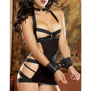 Sexy Black O-ring Bandage Chemise Teddy Lingerie with Handcuff N17254