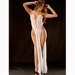 White Halter Deep V Neck Nightgown, Sexy Deep V Neck Backless Long Lingerie Dress, Fashion Halter Mesh Lingerie Nightgown, Valentine
