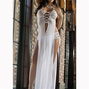 Halter Deep V Neck Nightgown, Sexy Deep V Neck See-through Long Nightgown, White Halter High Split Lingerie Nightgown, Valentine