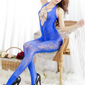 Sexy Halter See-through Bodysuit Lingerie, Blue See-through Crotchless Bodystocking, Halter Hollow Out Mesh Bodystocking Lingerie, Hollow Out See-through Mesh Bodystocking, See-through Mesh Open Crotch Bodystocking, #BS17101